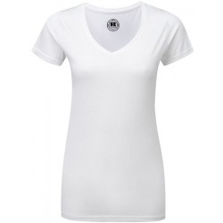 10555 AW - T-shirt RUSSELL donna bianca collo a V 155 gr