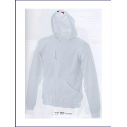 1396 JR - Felpa con cappuccio e zip lunga made in Italy 280 gr