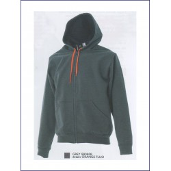 1421 JR - Felpa con cappuccio e zip lunga made in Italy 270 gr
