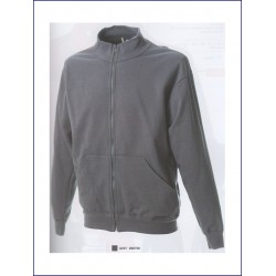 1437 JR - Felpa collo a lupetto zip lunga made in Italy 280 gr