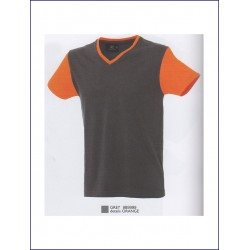 14786 JR - T-shirt bicolore manica corta collo v 100% cotone 150 gr