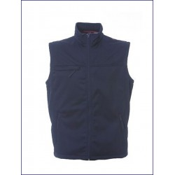 0320 JR - Gilet in soft shell blu/nero/grigio impermeabile