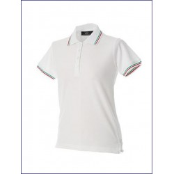 0462 JR - Polo donna piquè con doppio piping tricolore 200 gr