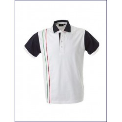 0481 JR - Polo jersey manica corta con piping verticali 200 gr
